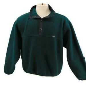 Woolrich Dark Green Black Fleece Jacket L Pullover